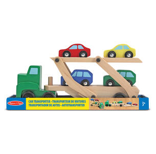 Melissa & Doug Car Carrier Truck & Cars Wooden Toy Set veicolo giocattolo