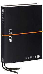 Agenda settimanale 2019. 12 mesi, Comix U Week medium. Nero con elastico arancione