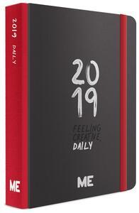 Agenda giornaliera 2019, 12 mesi, ME My Evolution Day medium. Nero-Rosso