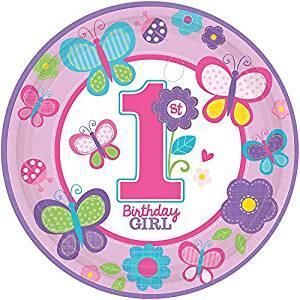 Compleanno Rosa. 8 Piatti 23 Cm