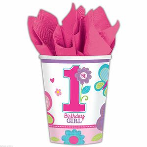 Compleanno Rosa. 8 Bicchieri Carta 200Ml