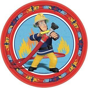 Sam Il Pompiere. 8 Piatti Carta 23 Cm