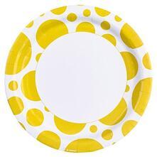 Solid Colour Dots Yellow. 8 Piatto 23 Cm