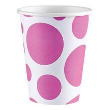 Solid Colour Dots Pink. 8 Bicchieri 200Ml