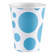 Solid Colour Dots Caribbean Blue. 8 Bicchieri 200Ml