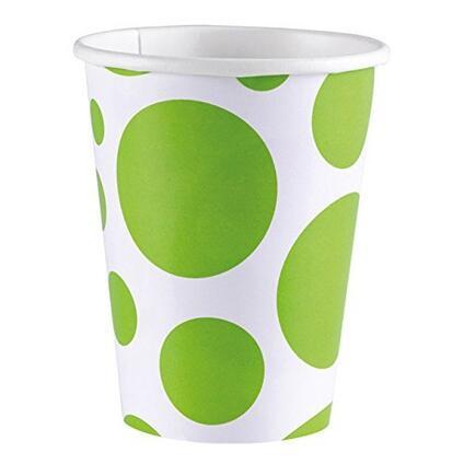 Solid Colour Dots Kiwi. 8 Bicchieri 200Ml