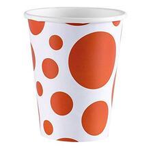 Solid Colour Dots Orange. 8 Bicchieri 200Ml