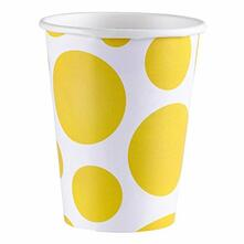 Solid Colour Dots Yellow. 8 Bicchieri 200Ml