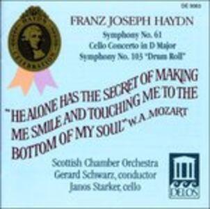 """Foto Cover di Concerto per Violoncello n.2 Hob.viib.2 Sinfonia n.61, n.103 """"rullo di Tamburo"""", CD di Franz Joseph Haydn,Gerard Schwarz, prodotto da Delos"""