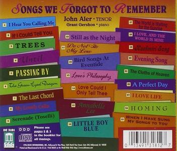 Songs We Forgot to Remember - CD Audio di John Aler