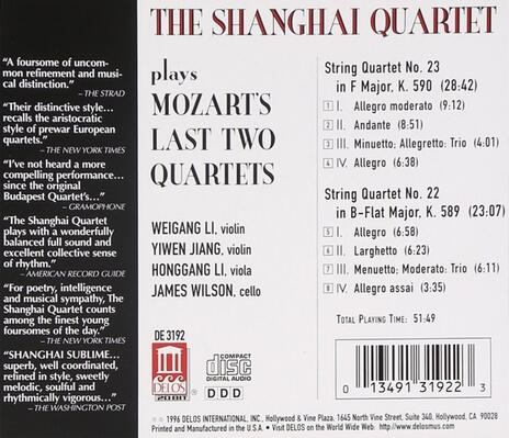 Last String Quartets, - CD Audio di Wolfgang Amadeus Mozart - 2