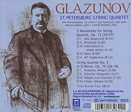Five Novelettes-Quartet N - CD Audio di Alexander Kostantinovich Glazunov - 3