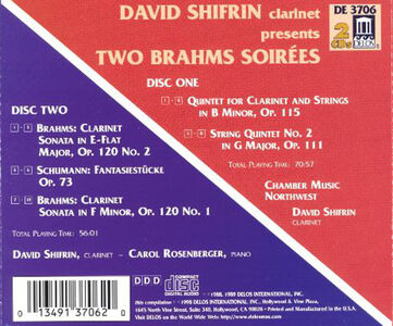 CD Two Brahms Soirées. Sonate per Clarinetto Nn.1 e 2, Quintetto per Clarinetto di Johannes Brahms 1