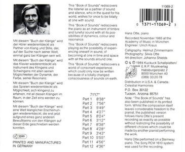 Book of Sounds - CD Audio di Hans Otte