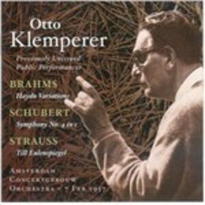 CD Variazioni su un tema di Haydn / Sinfonia n.4 / Till Eulenspiegels Lustige Streiche Johannes Brahms , Franz Schubert , Richard Strauss