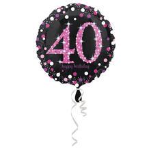 Palloncino Foil Mylar 40 Anni Colore Nero E Rosa/Fuxia Con Stampa Olografica. 45 Cm