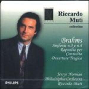 CD Sinfonie n.3, n.4 - Rapsodia per contralto di Johannes Brahms