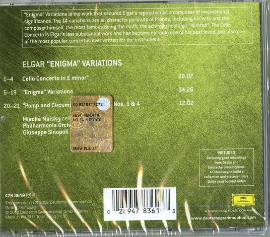 Pomp & Circumstances - Concerto per violoncello - Variazioni Enigma - CD Audio di Edward Elgar,Giuseppe Sinopoli,Mischa Maisky,Philharmonia Orchestra - 2