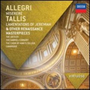 CD Miserere / Lamentations of Jeremiah & Other Renaissance Masterpieces di Gregorio Allegri