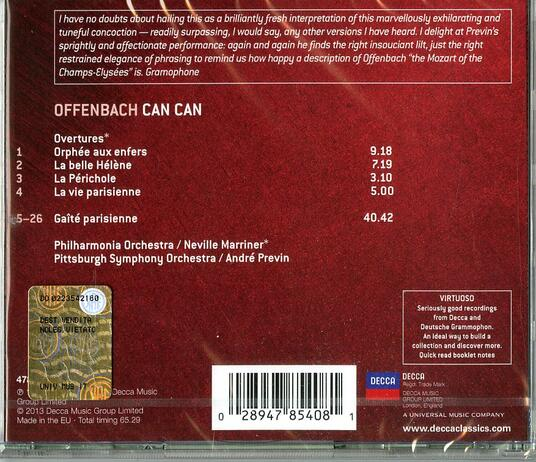 Can Can - Gaité Parisienne - Ouvertures - CD Audio di Jacques Offenbach,André Previn,Neville Marriner,Philharmonia Orchestra,Pittsburgh Symphony Orchestra - 2