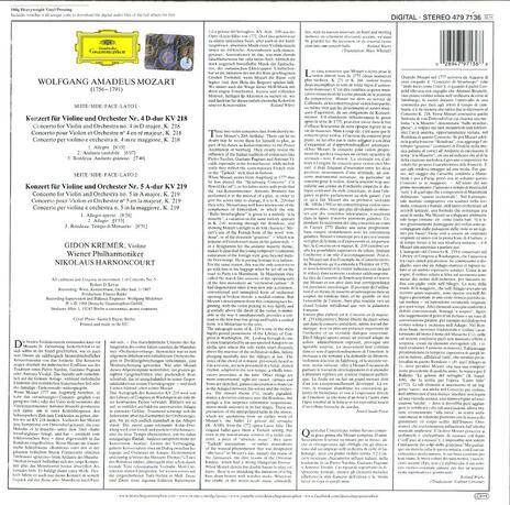 Concerti per violino n.2, n.3 - Vinile LP di Wolfgang Amadeus Mozart,Nikolaus Harnoncourt,Gidon Kremer,Wiener Philharmoniker - 2