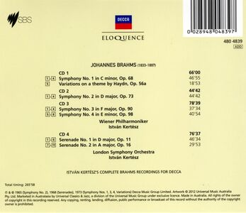CD Symphonies n.1 - 4; di Johannes Brahms 1
