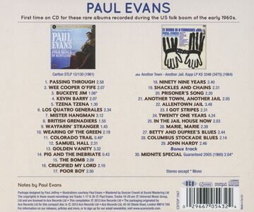 CD Folk Songs of Many Lands - 21 Years in a Tennessee Jail di Paul Evans 1
