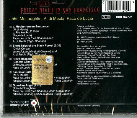 Friday Night in San Francisco Live - CD Audio di Paco De Lucia,Al Di Meola,John McLaughlin - 2