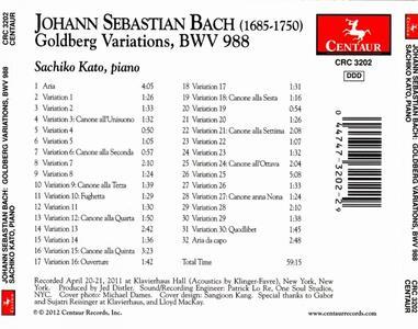 Goldberg Variations Bwv10 - CD Audio di Johann Sebastian Bach