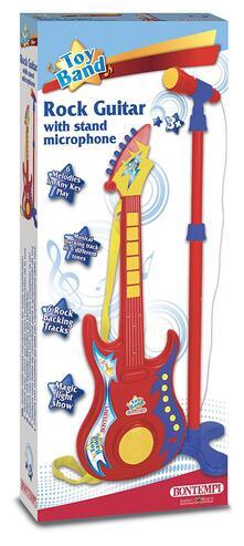 Chitarra Rock con Microfono da Palcoscenico per L'Amplificazione Della Voce 5 Canzoni 6 Basi Rock. Bontempi (24 7020)