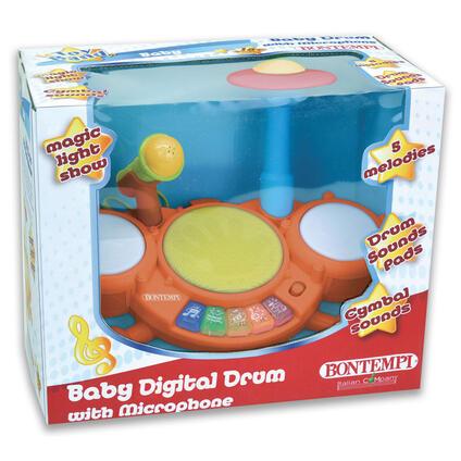 Batteria Digitale con Microfono 4 Pads con 5 Percussioni Tastiera Luminosa con 5 Melodie. Bontempi (52 1025)