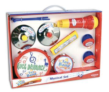 Kit musicale assortito composto da. 1 tamburo, 2 nacchere,1 tamburello,1 microfono, 1 armonica e 2 piatti - 2