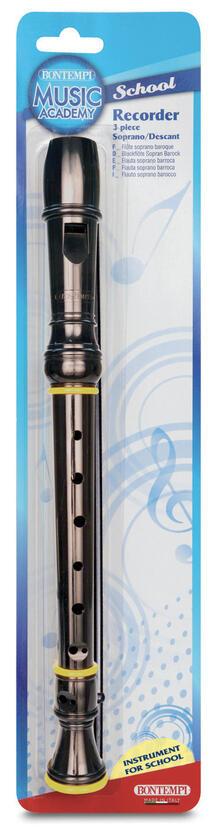 Flauto Dolce Soprano Diteggiatura Barocca in Blister Colore Nero. Bontempi (31 3621)