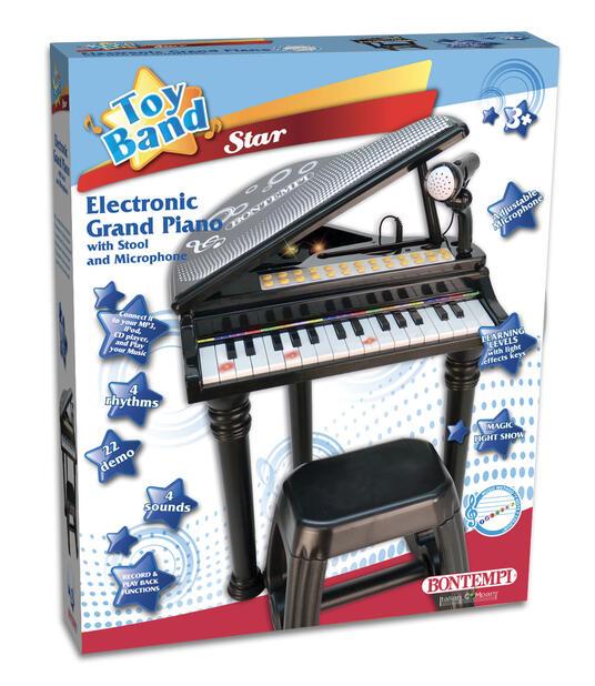 Toy Band Star. Pianoforte a Coda Nero 31 Tasti con Microfono Gambe e Sgabello. Bontempi (10 3000) - 2