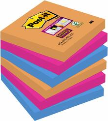 3M Post-it. Foglietti Super Sticky Colori Bangkok (6 Blocchetti 90 Fogli 76x76 Mm)
