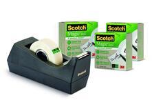 3M Post-it. Dispenser Scotch C38 Nero Ricaricabile + 3 Rotoli Di Nastro Adesivo Scotch Magic 900 A Greener Choice 19mmx33m