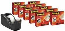 3M Post-it. Multi Pack 10 Rotoli di Nastro Adesivo Supertrasparente Scotch Crystal Clear + Dispenser C60 Nero