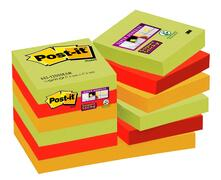 3M Post-it 12 Blocchetti Super Sticky Colori Marrakesh. 4 Colori 90 Foglietti 47,6 x 47,6 mm