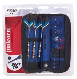 Giocattolo Set 3 freccette con punta in plastica, custodia deluxe e accessori Unicorn E500 Unicorn