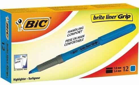 Cartoleria Evidenziatore a penna grip Bic azzurro. Confezione 12 pezzi Bic