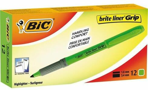 Cartoleria Evidenziatore a penna grip Bic verde. Confezione 12 pezzi Bic