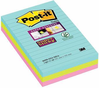 3M Post-it. Foglietti Post-It Super Sticky Grandi Formati. Confezione Da 3 Blocchetti Senza Film Singolo Da 90 Fogli