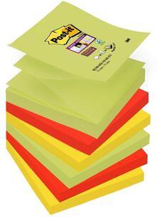3M Post-it 6 Blocchetti Super Sticky Ricarica A-Z per Dispenser Colori Marrakesh. 3 Colori 90 Foglietti 76 x 76 mm