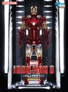 Giocattolo Action Hero Vignette. Iron Man 3. Hall of Armor Mk.VII Multi-Poseable include base illuminata a led (DR38126) Dragon 0