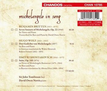 Michelangelo in Song - CD Audio di John Tomlinson - 2