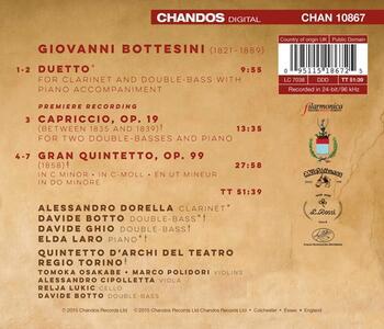 Duetto - Capriccio - Gran Quintetto - CD Audio di Giovanni Bottesini
