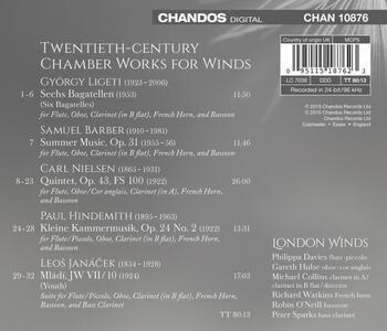 Composizioni per fiati - CD Audio di Paul Hindemith,Carl August Nielsen,Leos Janacek,György Ligeti,Samuel Barber,London Winds - 2