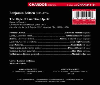 The Rape of Lucretia - CD Audio di Benjamin Britten,Richard Hickox,Catherine Pierard,Jean Rigby - 2