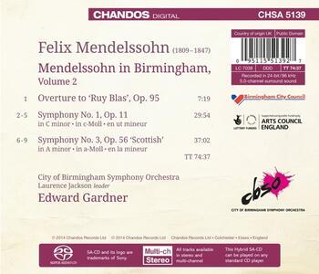 Mendelssohn in Birmingham - SuperAudio CD ibrido di Felix Mendelssohn-Bartholdy,City of Birmingham Symphony Orchestra,Edward Gardner - 2