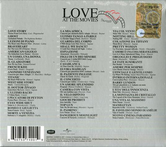 Love at the Movies. The Platinum Cinema Love Theme (Box Set) - CD Audio - 2